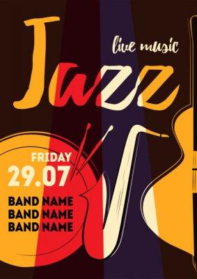 Sticker Musikplakatvektorabbildung für Ereignisentwurf, Partyplakat, Postkarte oder Einladung. Event-Poster mit Trommel, Saxophon, Bass
