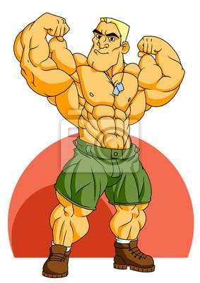 Muskel-Soldat Bodybuilder, Illustration, Logo, Farbe, isoliert auf einem weißen