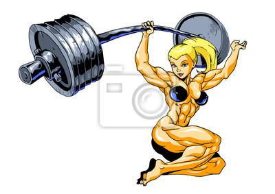 Muskelmädchen mit Barbell deadlift, Vektor, Illustration, Logo, Farbe, lokalisiert auf einem Weiß