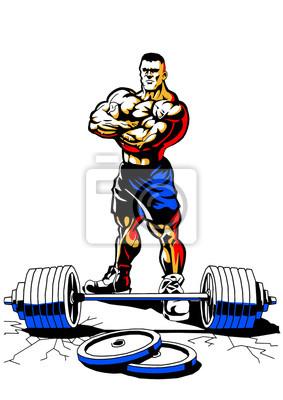 muskulösen Bodybuilder mit Gewicht, Illustration, Farbe, Logo, auf einem weißen