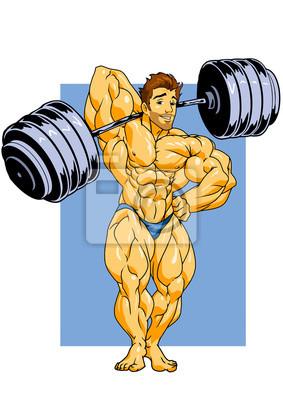 muskulösen Bodybuilder posiert mit einer Langhantel, Illustration, Farbe, Logo, auf einem weißen