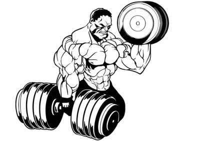 Sticker muskulösen Bodybuilder Training