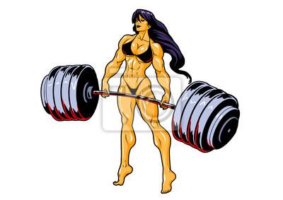 muskulöses Eignungsmädchen im Bikini mit Barbell, Illustration, Kunst, Design, Logo, Farbe