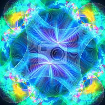 Muster aus einem Raster und hell leuchtende Lichter. Computer generieren