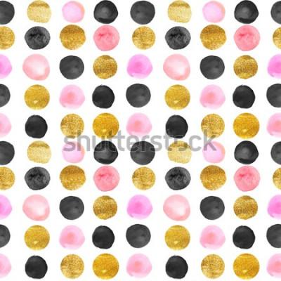 Sticker Muster aus Gold und rosa Punkten. Aquarell Hand gezeichnet