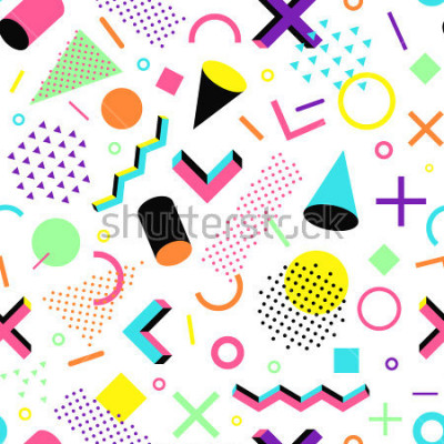 Sticker Muster im 90er Jahre Stil. Geometrisches nahtloses Vektormuster in Memphis-Art