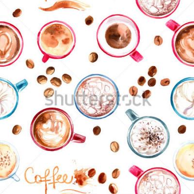 Sticker Muster-Kaffeetasse gemalt mit Aquarellen auf weißem Hintergrund. Das Getränk und die Süßigkeiten. Abstrakte Aquarellpunkte, Spuren von Kaffee.