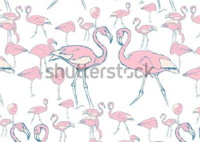 Sticker Muster mit rosa Flamingos im Wasser in verschiedenen Posen und zwei Flamingos mit Hals in Form eines Herzens