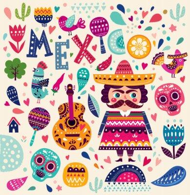 Sticker Muster mit Symbolen von Mexiko