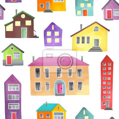 Muster mit verschiedenen Häusern