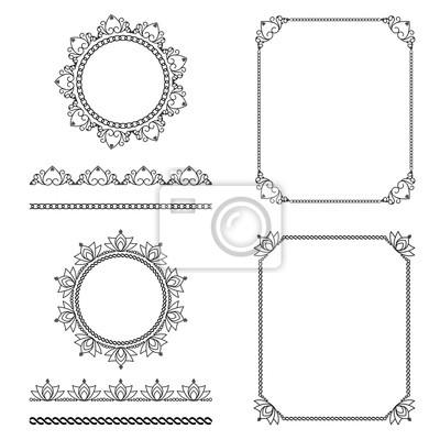Muster Pinsel Set 2, Vektor dekorative Elemente. Stripe nahtlose Zierleisten.