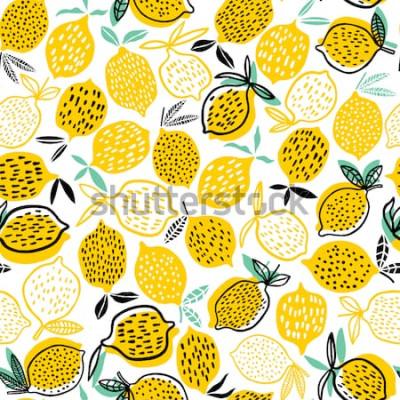 Sticker Muster-Vektorillustration der Zitrone nahtlose. Sommer Design