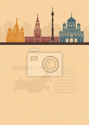 Musterblätter mit einer Karte von Russland und architektonischen Sehenswürdigkeiten von Moskau