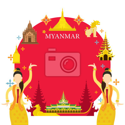 Myanmar Wahrzeichen, Traditioneller Tanz, Rahmen