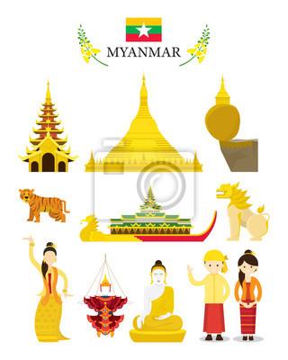 Myanmar Wahrzeichen und Kultur Objekt Set, Nationales Symbol und Architektur, Reise-und Touristenattraktion