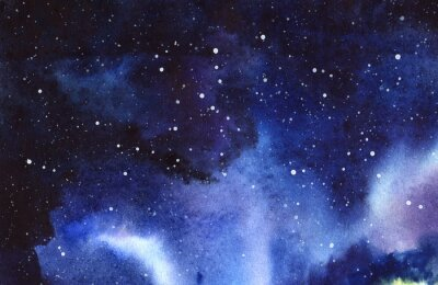 Sticker Nacht Sternenhimmel. Hand gezeichnet auf eine reale Aquarell Illustration des nassen Papiers.