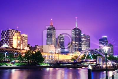 Nacht Urban City Skyline. Melbourne. Australien
