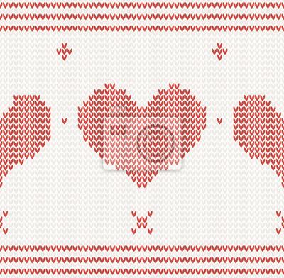 Nahtlos gestrickt Vektor-Muster mit roten Herzen
