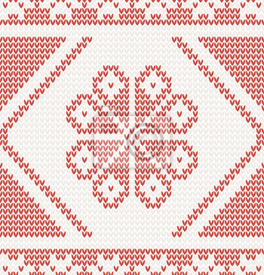 nahtlos gestrickten Muster mit roten Blumen Vektor-Illustration