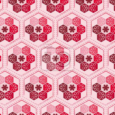 nahtlos sechseckigen Muster mit floralen Elementen, enthalten Muster-Farbfeld