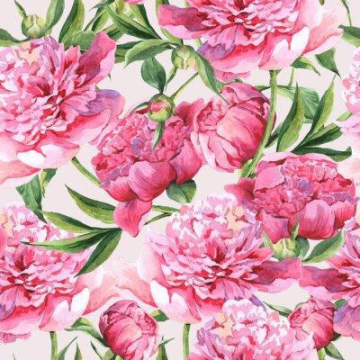 Sticker Nahtlose Aquarell Hintergrund mit rosa Pfingstrosen