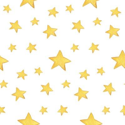 Sticker Nahtlose Aquarell Muster: Frohe Weihnachten, gelbe Sterne