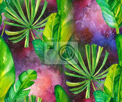 Nahtlose Aquarell Muster mit tropischen Blättern auf dem Hintergrund der