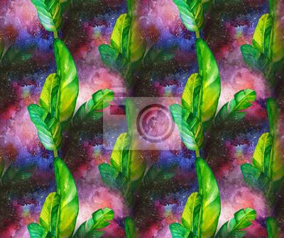 Nahtlose Aquarell Muster mit tropischen Blättern auf dem Hintergrund des Raumes