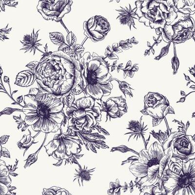 Sticker Nahtlose Blumenmuster.