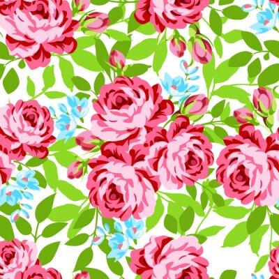 Sticker Nahtlose Blumenmuster mit Garten rosa Rosen