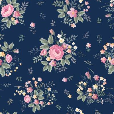 Sticker Nahtlose Blumenmuster mit Rose Bouquet ondark blauem Hintergrund