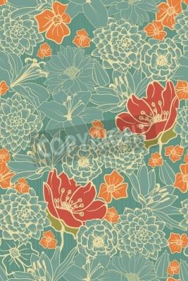 Sticker Nahtlose Blumenmuster mit roten Blumen auf Monochrom Hintergrund