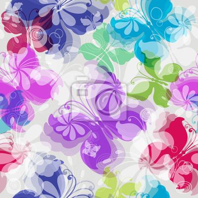Nahtlose Blumenmuster mit Schmetterlingen