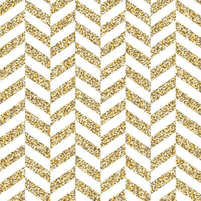 Sticker Nahtlose Chevron Muster. Glitzernde goldene Oberfläche