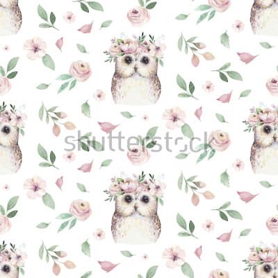 Sticker Nahtlose Hand illustrierte Blumenmuster des Aquarells mit Blumenblatt, rosa Blumen und kleiner Eule des Babys. Botanisches Hintergrundgewebe der Aquarellboho-Frühlings-Tapete