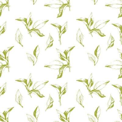 Sticker Nahtlose Hintergrund der Blätter. Sketch-Stil.