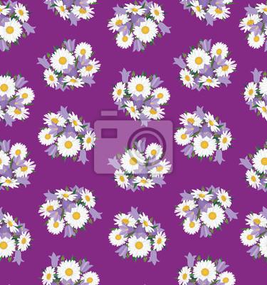Sticker nahtlose Hintergrund der einen Strauß Gänseblümchen und Glockenblumen, Wildblumen