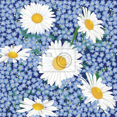 Sticker nahtlose Hintergrund von Gänseblümchen und Vergessens