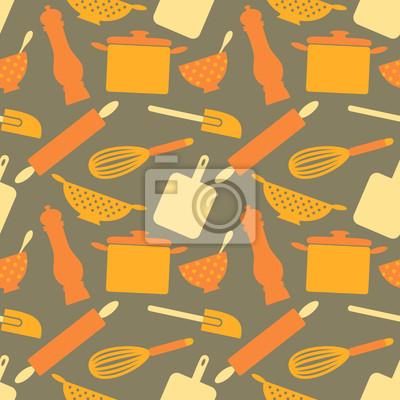 Nahtlose Kitchen Items Pattern