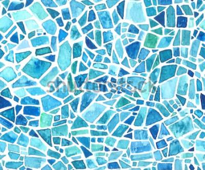 Sticker Nahtlose Mosaikbeschaffenheit. Vektorblauer Kaleidoskophintergrund. Aquarell geometrisches Muster. Glasmalerei-Effekt.