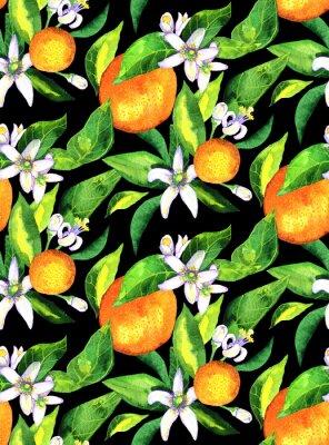 Nahtlose Muster. Blühende Orange. Blumen neroli. Wasserfarbe orange