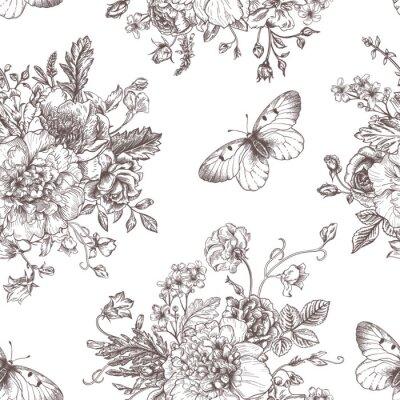 Sticker Nahtlose Muster Blumen und Schmetterlingen.