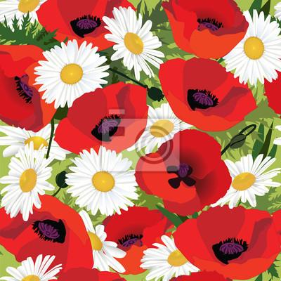 Sticker nahtlose Muster der Mohnblumen und Gänseblümchen