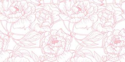 Sticker Nahtlose Muster, Hand gezeichneten Umriss Rosa Pfingstrose Blumen auf weißem Hintergrund
