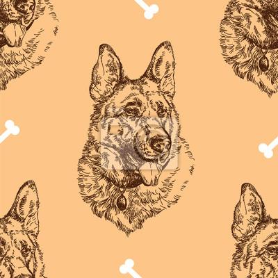 Nahtlose Muster Handzeichnung Deutsch Schäferhund mit Knochen