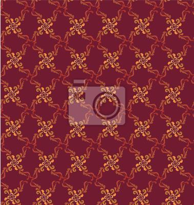 Sticker nahtlose Muster Hintergrund aus Pflanzenmotiven im Retro-Stil