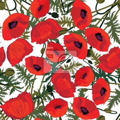 Sticker nahtlose Muster Hintergrund aus roten Mohnblumen