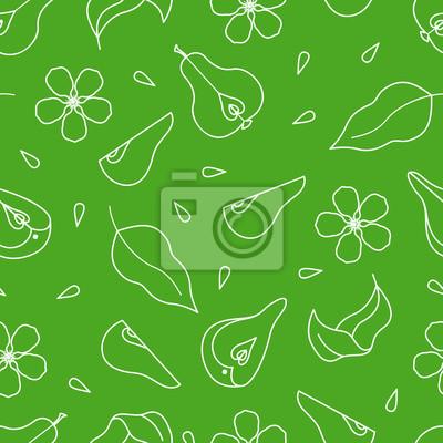 Sticker Nahtlose Muster mit Birne, Blume, Blätter und Scheiben