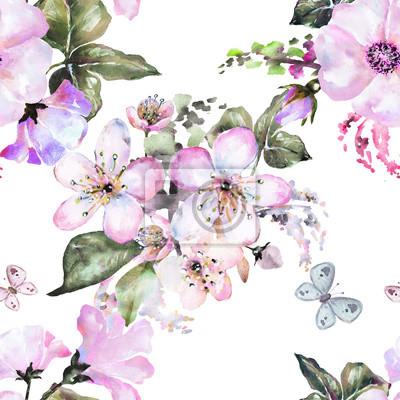 Nahtlose Muster mit Blumen, Aquarell Blumenmuster, Blume Rose und Sakura in Pastellfarbe, nahtlose Blumenmuster für Tapeten, Karte oder Stoff, Muster mit blühenden Blumen und Schmetterling