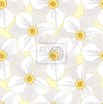 Sticker nahtlose Muster mit Blumen weißen Narzissen